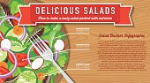 Wood Bowl Of Salad On A Wood Background Infographic. The bowl is partially hidden within a clipping mask. Several layers to make editing easier.