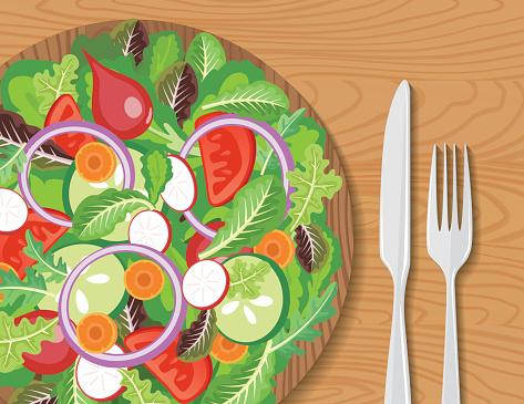 Wood Bowl Of Salad On A Wood Table