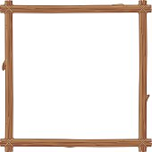 Square picture frame made of wooden branches
