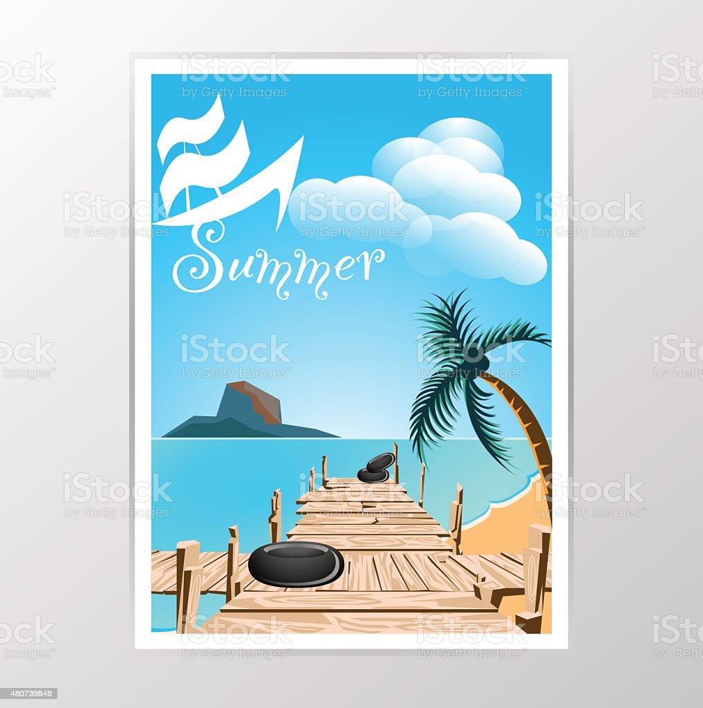wood bridge and seaside vector vector art illustration