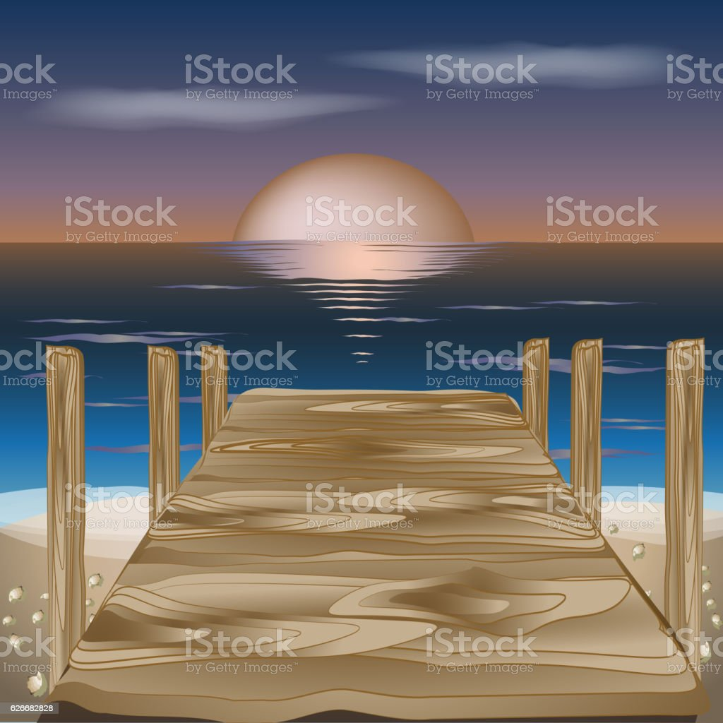 Wood bridge to the sea at summer sunset beach, vector vector art illustration