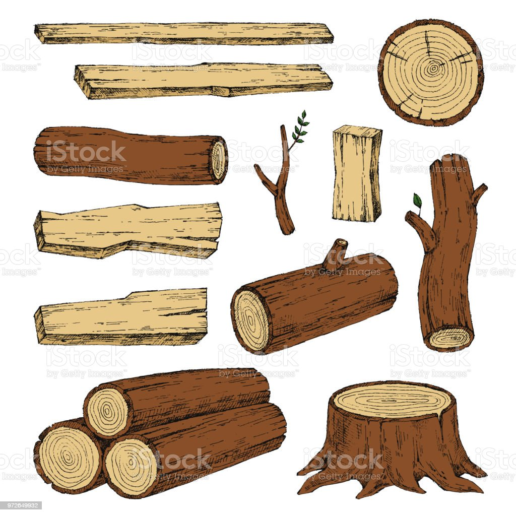Wood Burning Materials Vector Sketch Illustration Collection ...
