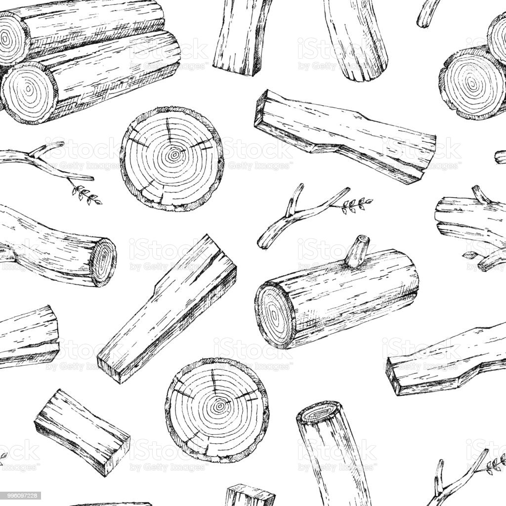 Wood Burning Materials Vector Sketch Illustration Collection