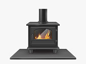Wood burning stove, iron fireplace with fire inside isolated on white background, indoors traditional heating system in modern style. Household equipment. Realistic 3d vector illustration, clip art
