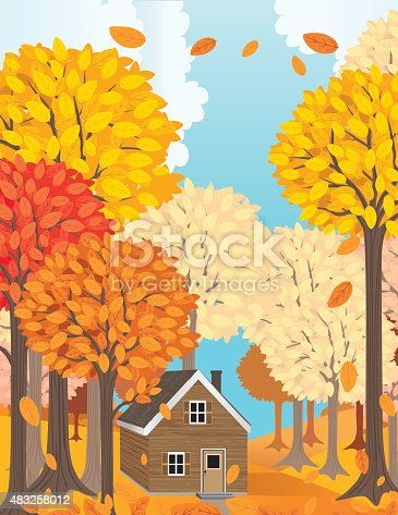 Wood Cabin In A Big Forest In Autumn. There are tall trees and leaves falling around the cabin.