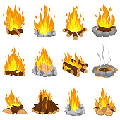 Wood campfire. Outdoor bonfire, fire burning wooden logs and camping stone fireplace. Firewood flames, burn campfire or bonfire flame fireplace. Cartoon vector illustration isolated symbols set