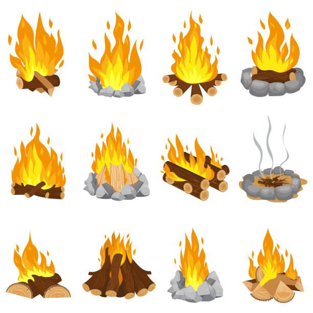 illustrazioni stock, clip art, cartoni animati e icone di tendenza di wood campfire. outdoor bonfire, fire burning wooden logs and camping stone fireplace cartoon vector illustration set - falò