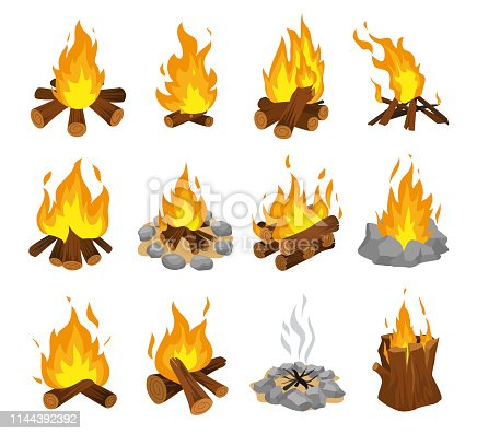 Wood campfire set, travel and adventure symbol. Fire bright design. Vector flat style cartoon illustration isolated on white background