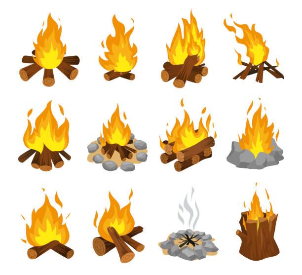 ilustrações de stock, clip art, desenhos animados e ícones de wood campfire set, travel and adventure symbol - braseiro