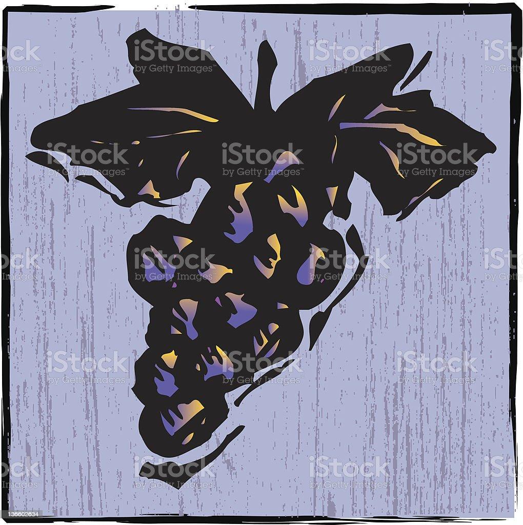 wood carving grapes vector art illustration