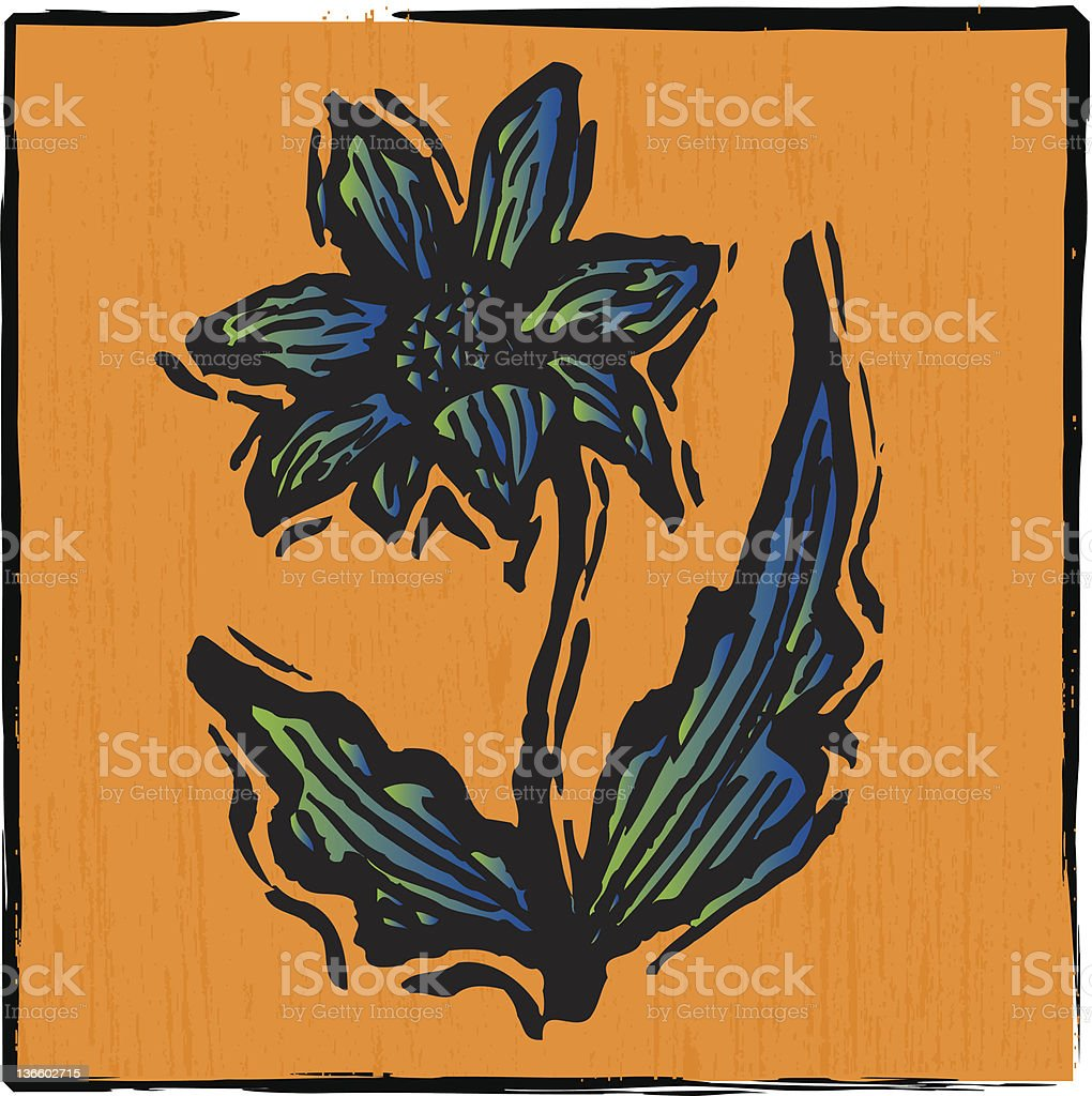 wood carving sunflower vector art illustration