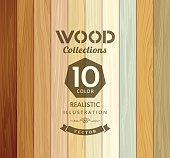 Wood collections colored ten realistic texture design background, vector illustration