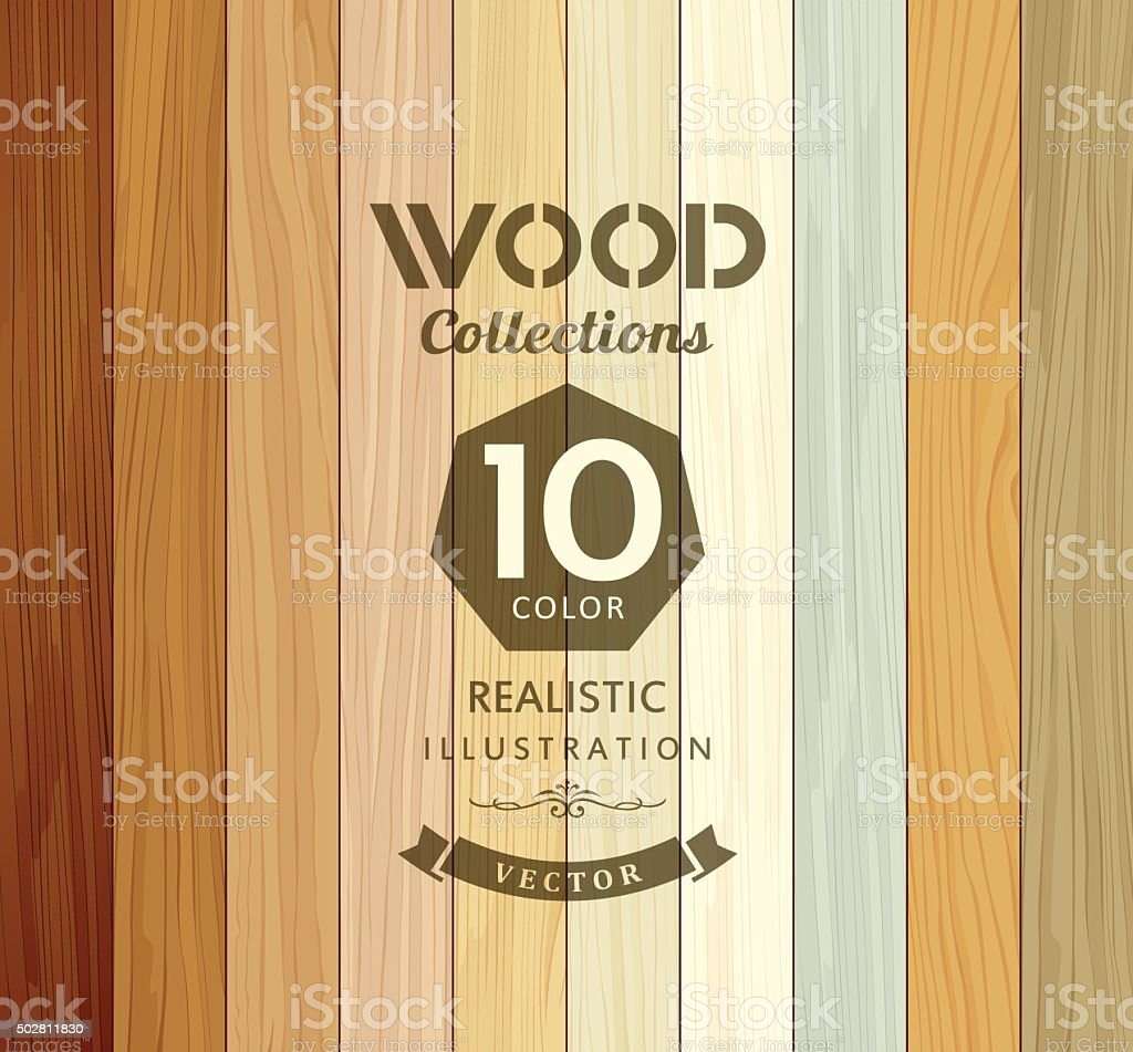 Wood collections colored ten realistic texture vector art illustration