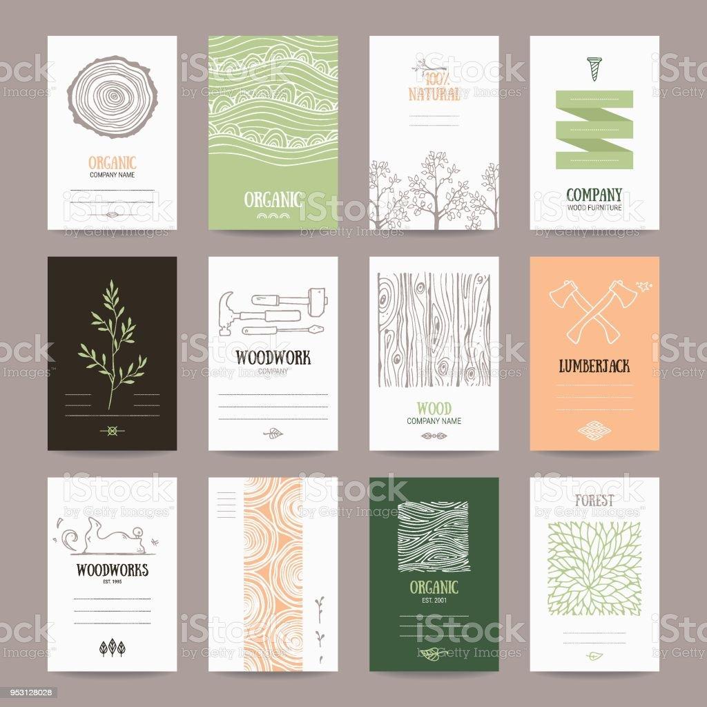 Empresa de madera, carpintería, industria plantilla de tarjeta de registro - ilustración de arte vectorial
