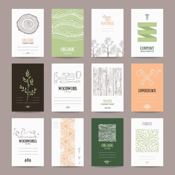 Wood Company, Woodwork, logging Industry Card Template Wood company business card, woodwork ad, furniture manufacture banner, natural goods flyer, organic shop poster. Artistic collection of templates with lumberjack tools, woody textures, tree branches. carpenter stock illustrations