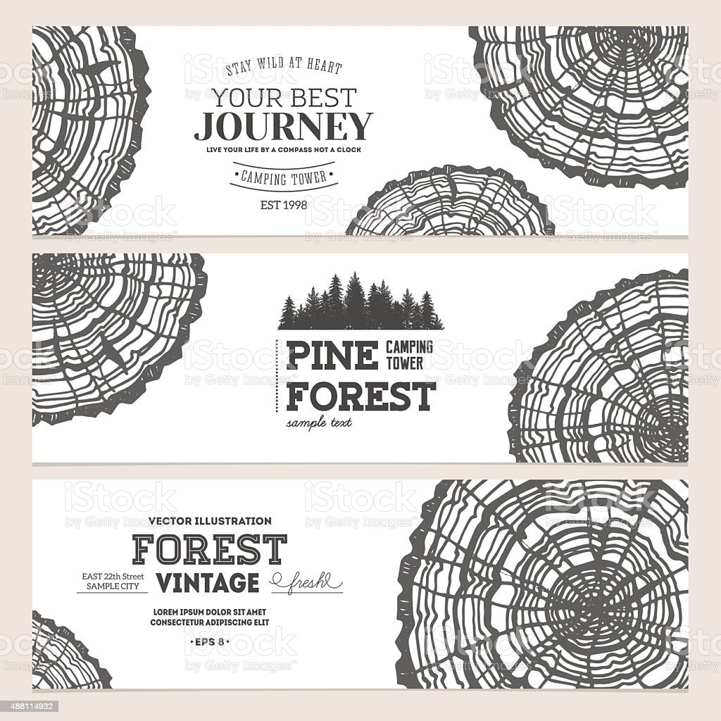 Wood cross section. Journey banner collection. Vector illustration vector art illustration