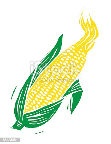 Wood cut Ear of Corn