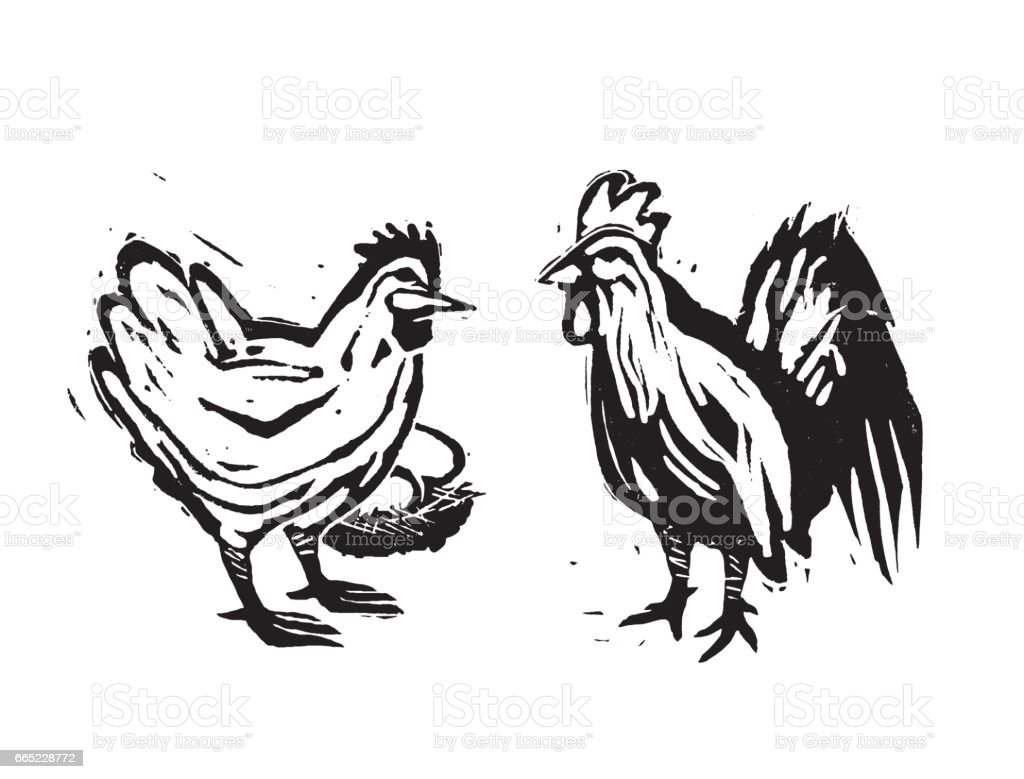 Line Art Rooster : Wood cut hen and rooster farm chickens stock vector art & more