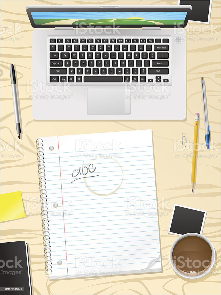 Wood desk with laptop, notebook and school supplies royalty-free wood desk with laptop notebook and school supplies stock vector art & more images of adhesive note