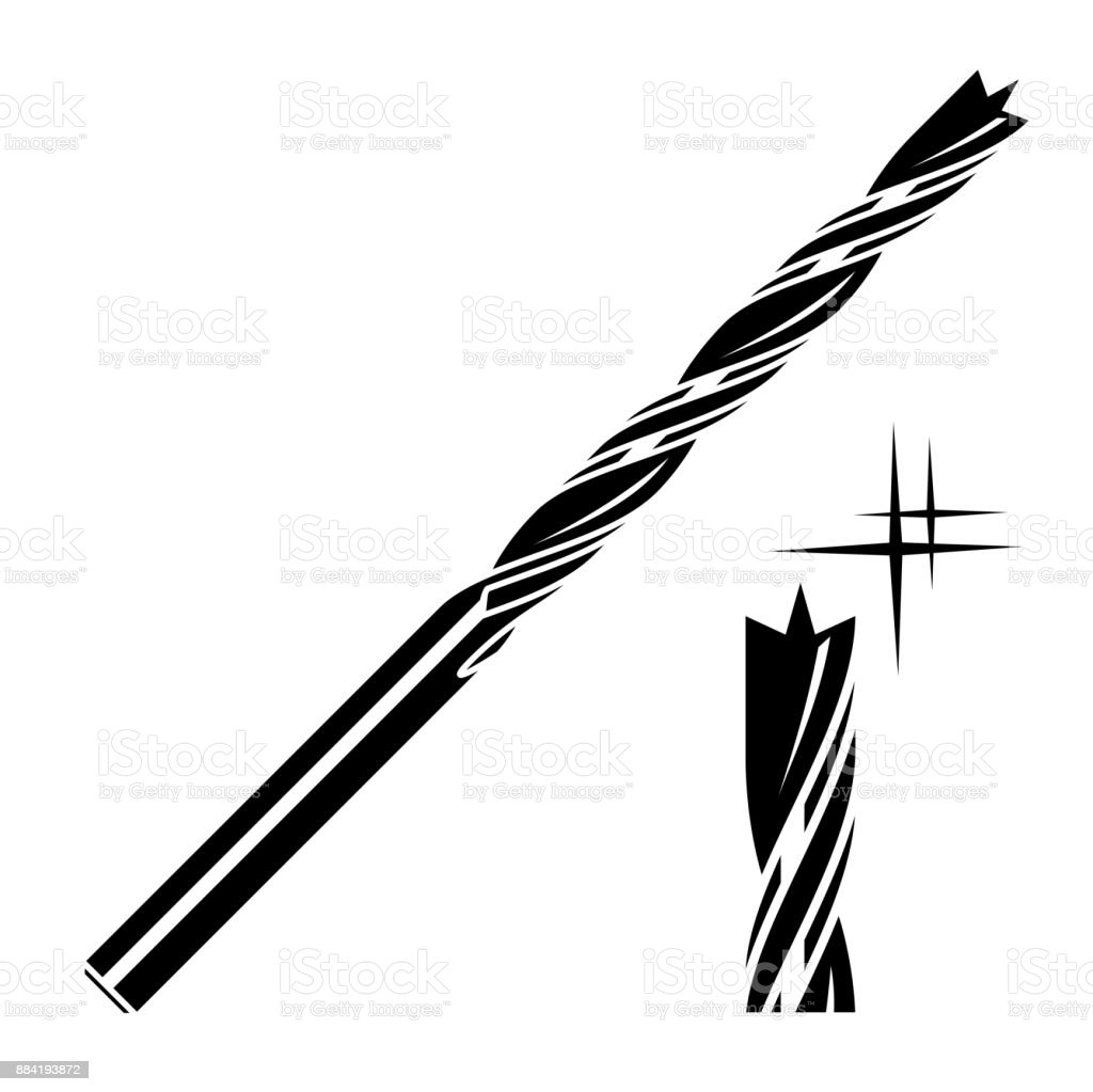 Wood Drill Bit Icon Stock Vector Art & More Images of Building ...