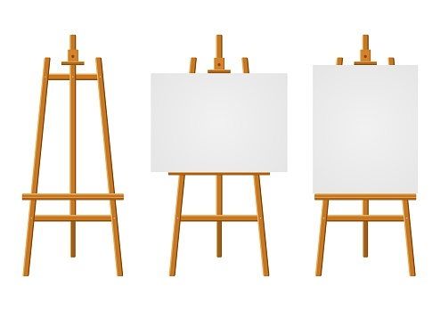 Wood easels or painting art boards with white canvas of different sizes. Easels with horizontal and vertical paper sheets. Artwork blank poster mockups.