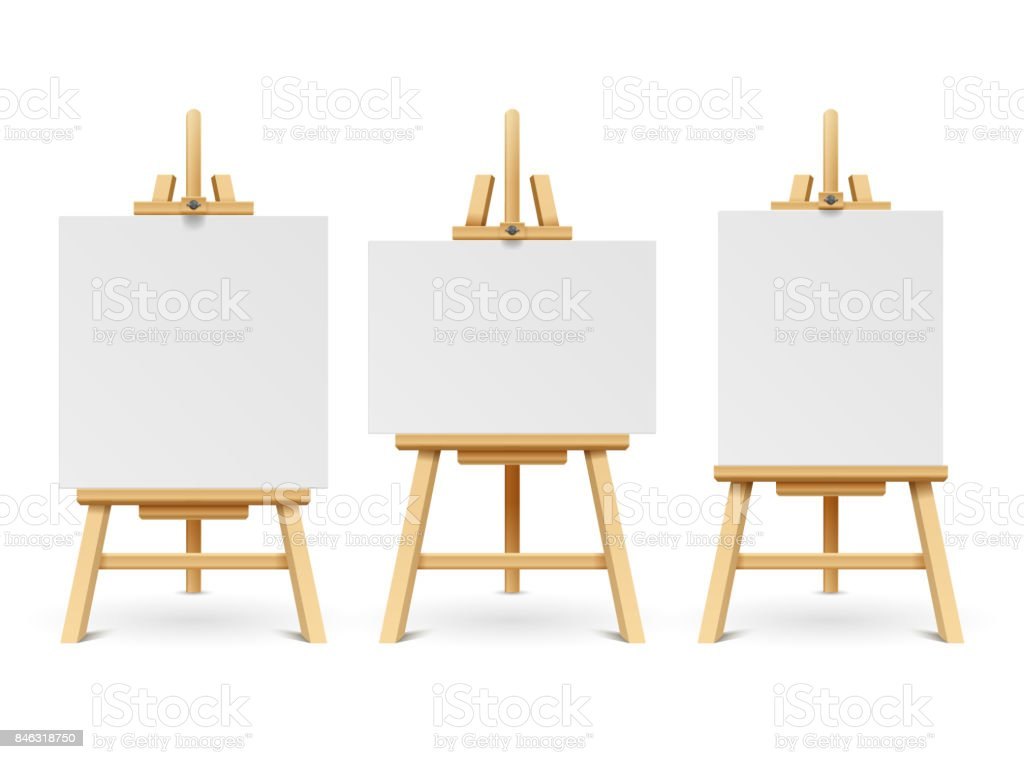 Wood easels or painting art boards with white canvas of different sizes. Artwork blank poster mockups vector art illustration