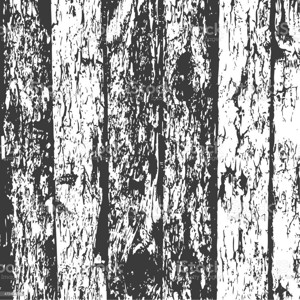 Wood fence grunge background, black and white pine bark texture. vector art illustration