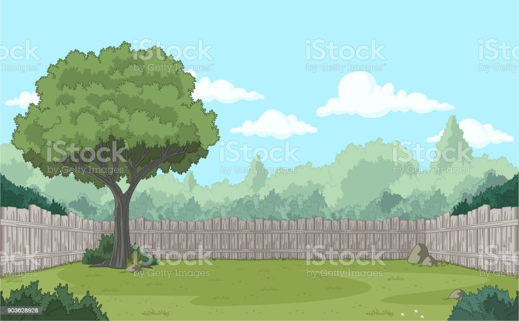 Wood fence on the backyard. royalty-free wood fence on the backyard stock illustration - download image now