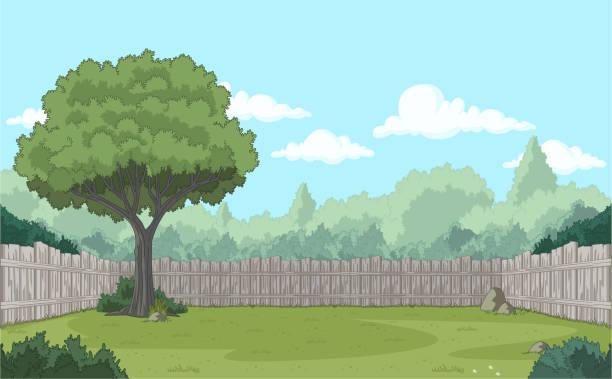 ilustraciones, imágenes clip art, dibujos animados e iconos de stock de valla de madera en el patio trasero. - backyard