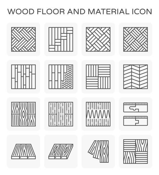 木製の床のアイコン - 木目点のイラスト素材/クリップアート素材/マンガ素材/アイコン素材