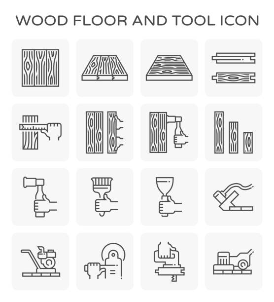 stockillustraties, clipart, cartoons en iconen met houten vloer pictogram - plank timmerhout