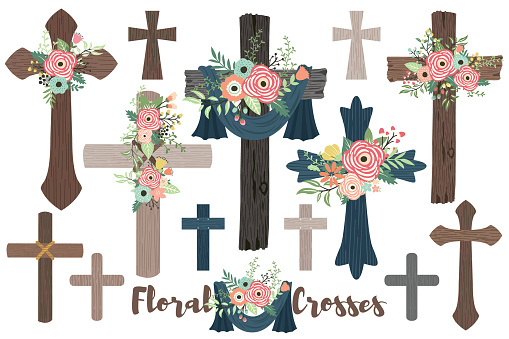 Wood Flowers Crosses for Baptism, Florals Cross and Holy Spirit