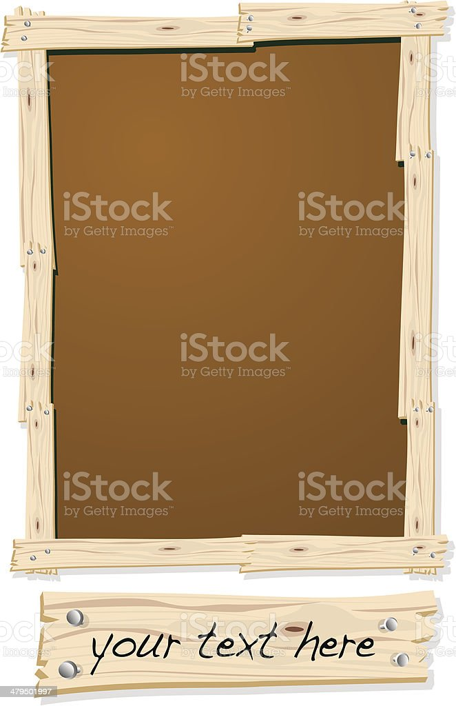 Wood Frame with Nails royalty-free stock vector art
