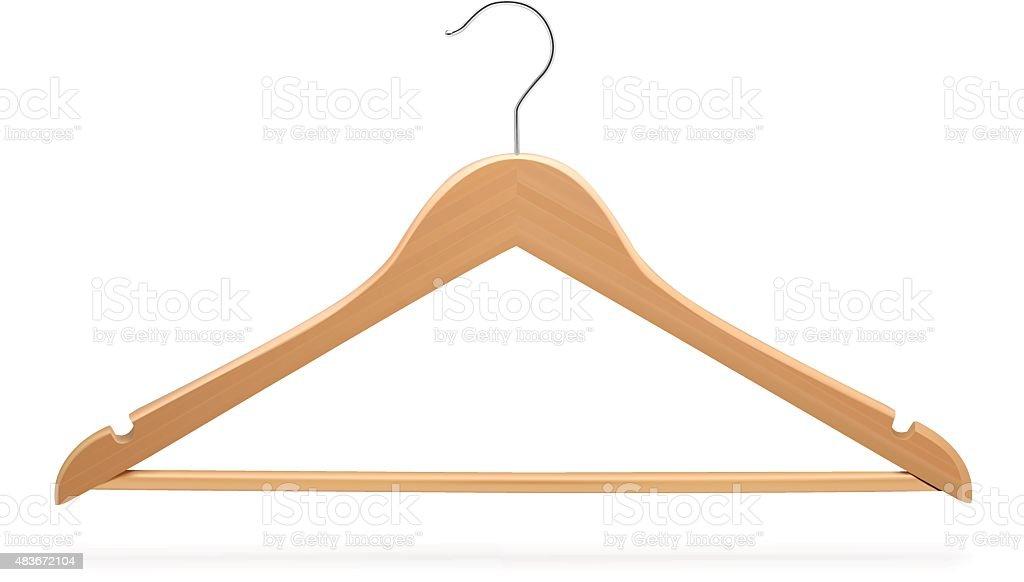 Wood hanger isolated on white background. Vector illustration vector art illustration