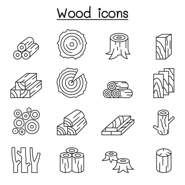 ilustrações de stock, clip art, desenhos animados e ícones de wood icon set in thin line style - madeira
