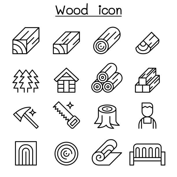 illustrazioni stock, clip art, cartoni animati e icone di tendenza di wood icon set in thin line style - industria forestale