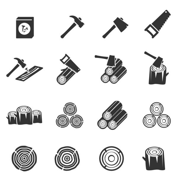 wood icon vector symbol wood icon vector symbol carpenter stock illustrations