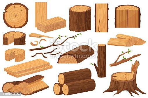 Wood industry raw materials. Realistic production samples collection. Tree trunk, logs, trunks, woodwork planks, stumps, lumber branch, twigs cartoon vector illustration