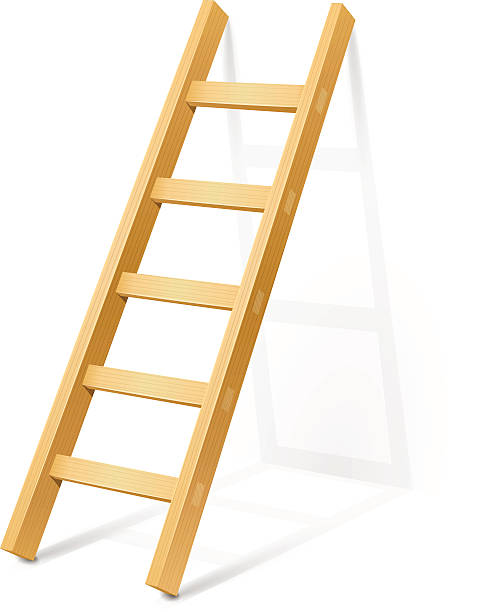 stockillustraties, clipart, cartoons en iconen met wood ladder resting against the wall - ladder