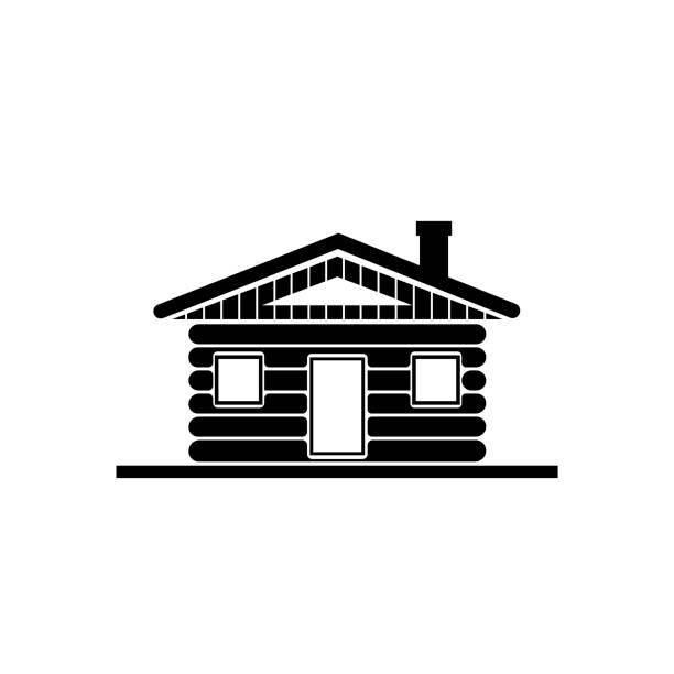 Wood log house icon vector Built Structure, Construction Industry, Door, Village, Log Cabin villa stock illustrations