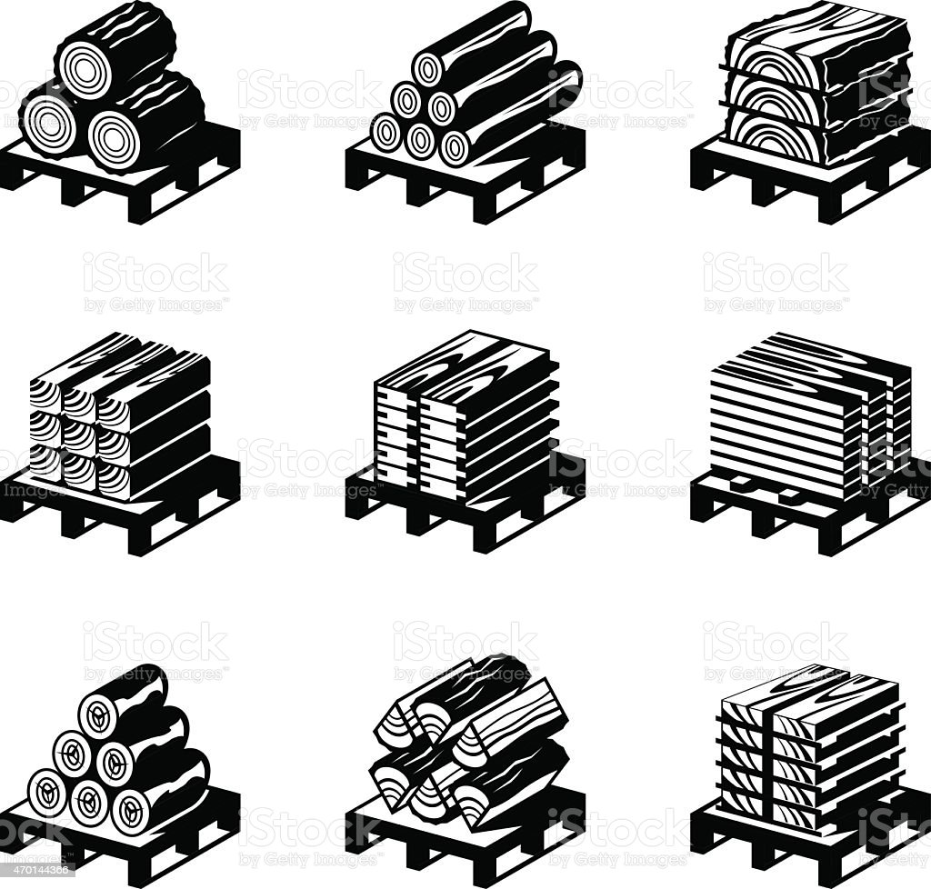 Wood materials icon set stock vector art 470144366 istock for Waste material images