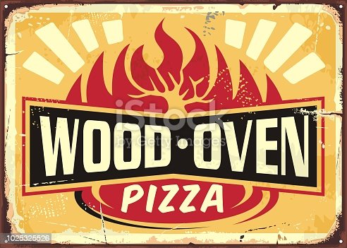 Wood oven fired pizza vintage metal sign design template on yellow background. Italian cuisine retro pizza poster.
