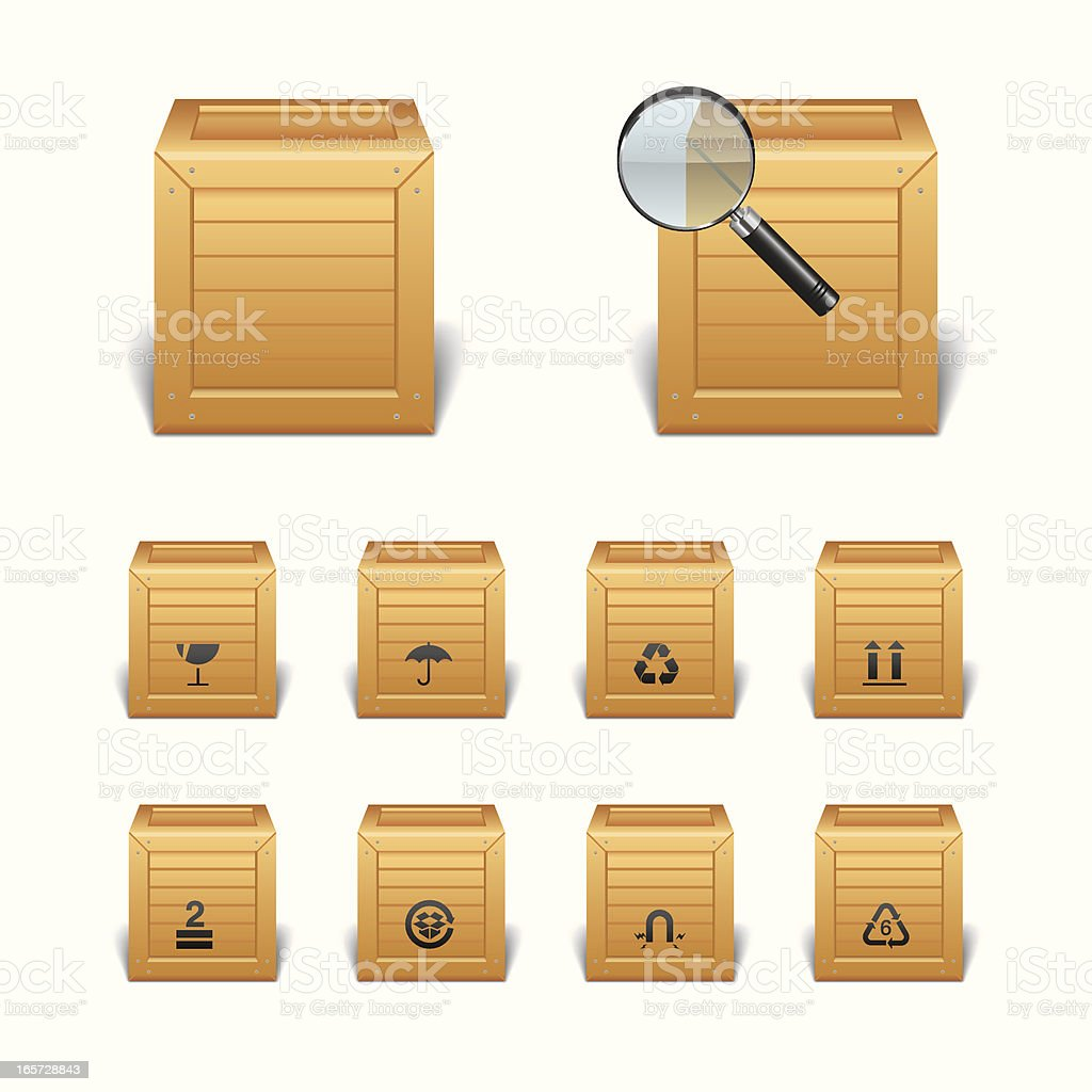 Wood Package Boxes with Icons royalty-free stock vector art