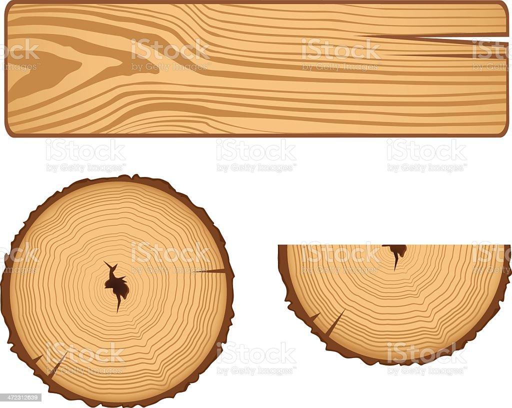Wood Parts vector art illustration