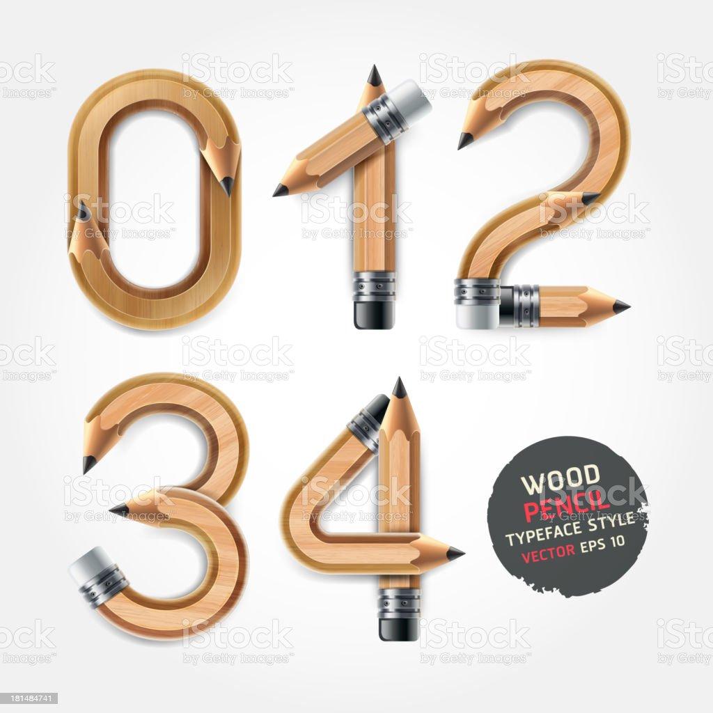 Wood Bleistift zahlen alphabet-Stil. – Vektorgrafik