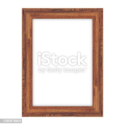 istock Wood picture frame on white background 1090878904
