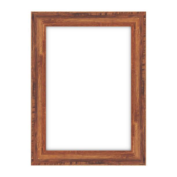 illustrazioni stock, clip art, cartoni animati e icone di tendenza di wood picture frame on white background - quadro