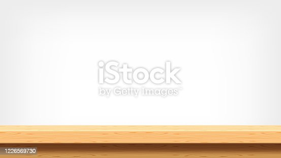 istock wood plank empty front view for background and copy space, blank table top wooden brown for decoration room, vintage wood plank for background, wooden table on grey wall, table wood plank front view 1226569730