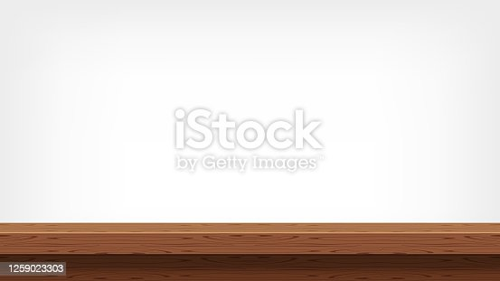istock wood plank empty front view for background and copy space, blank table top wooden brown for decoration room, vintage wood plank for background, wooden table on grey wall, table wood plank front view 1259023303