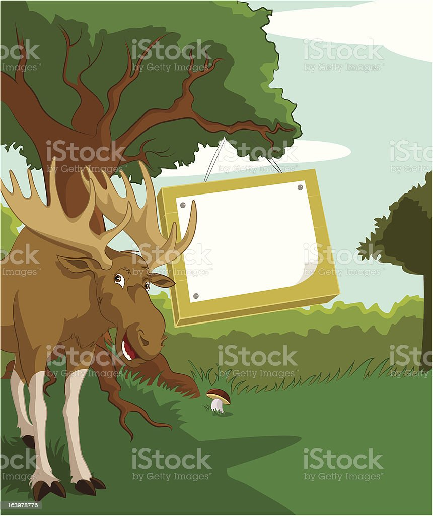 Wood plate with Elk royalty-free stock vector art